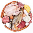 Stock Photo: Meat and dairy products in form of circle.