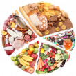 Food for a balanced diet in the form of circle. - Foto Stock