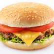 Stock Photo: Cheeseburger on a white background