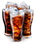 Glasses with cola and ice cubes — Stock Photo