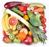 Фрукты и овощи в квадрате. — Стоковое фото