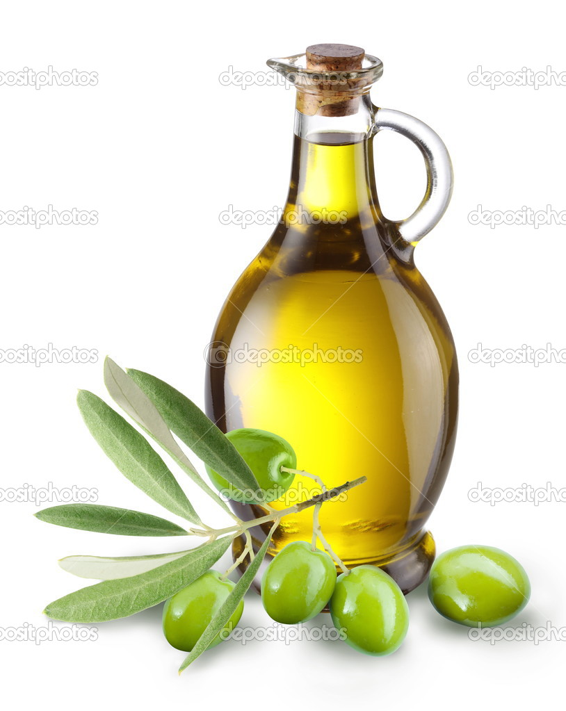 Branch with olives and a bottle of olive oil isolated on white. — Stock Photo #3649861