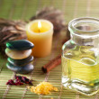 Stock Photo: Still life with massage oil in spsalon