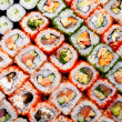 Japanese sushi rolls. View from above. - Stock Photo