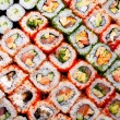 Stock Photo: Japanese sushi rolls. View from above.