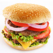 Cheeseburger on a white background - Zdjcie stockowe