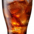 Pouring of cola in the glass with ice — Stock Photo #3657663
