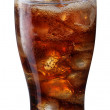 Pouring of cola in the glass with ice — Stock Photo