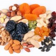 Groups of various kinds of dried fruits on white background — Stock Photo #3657809