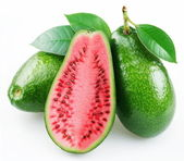 Flesh of watermelon on the cut avocado. — Stock Photo
