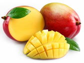 Mango with section on a white background — Stock Photo