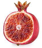 Red orange cut ripe pomegranate. Product of genetic engineering. — Stock Photo