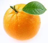 спелый апельсин с листьями на белом фоне — Стоковое фото
