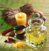 Still life with massage oil in the spa salon — Stockfoto