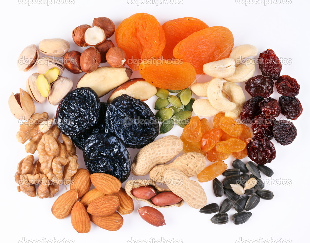 Groups of various kinds of dried fruits on white background — Stock Photo #3652593
