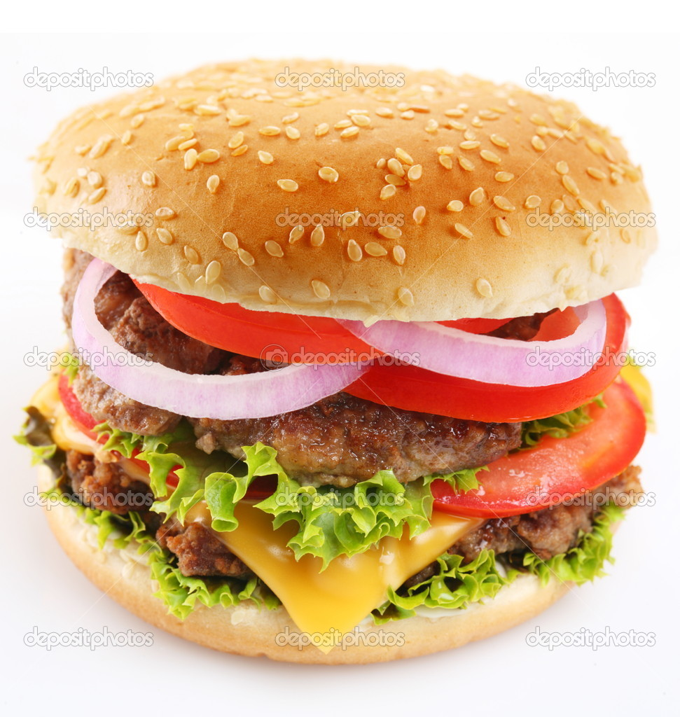 Cheeseburger on a white background — Foto de Stock   #3652942