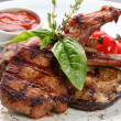 Grilled meat with vegetables - Stok fotoğraf