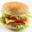 Stock Photo: Cheeseburger on white background