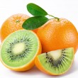 Flesh kiwi cut ripe orange. Product of genetic engineering. Comp — Stock Photo #3751756