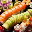 Japanese sushi rolls. View from above. - Stok fotoğraf