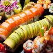 Japanese sushi rolls. View from above. — Stockfoto
