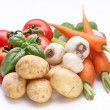 Group of fresh vegetables on white background - Stock Photo