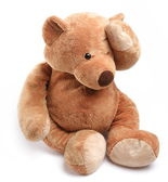 Teddy bear in a worry. Isolated over white. — Stock Photo