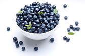 Crockery with blueberries. — Stock Photo