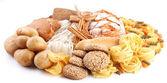 Com produtos de padaria, sobre um fundo branco — Foto Stock