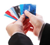 Credit card in the hands of women — Stock Photo