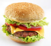 Cheeseburger on a white background — Stock Photo