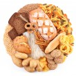 Royalty-Free Stock Photo: Bread and bakery products in the form of a circle. Isolated on white backgr