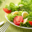Salad with eggs and tomatoes on a green background. — Stock Photo