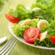 Salad with eggs and tomatoes on a green background. - Stock Photo