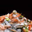 Seafood on ice. Isolated on black. — Stock Photo