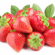Group of appetizing strawberries with leaves on back. Isolated on a white b — Stock Photo