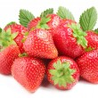 Group of appetizing strawberries with leaves on back. Isolated on a white b — Stock Photo #3835071