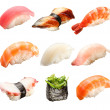 Japanese sushi isolated on a white background - Stock Photo