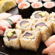 Set of Japanese sushi on a plate — Stock Photo