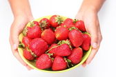 Crockery with strawberries in woman hands. — Stock Photo