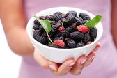 Crockery with mulberries in woman hand. — Foto Stock