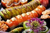 Sushi and rolls — Stock Photo