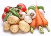 Group of fresh vegetables on white background — Stock Photo