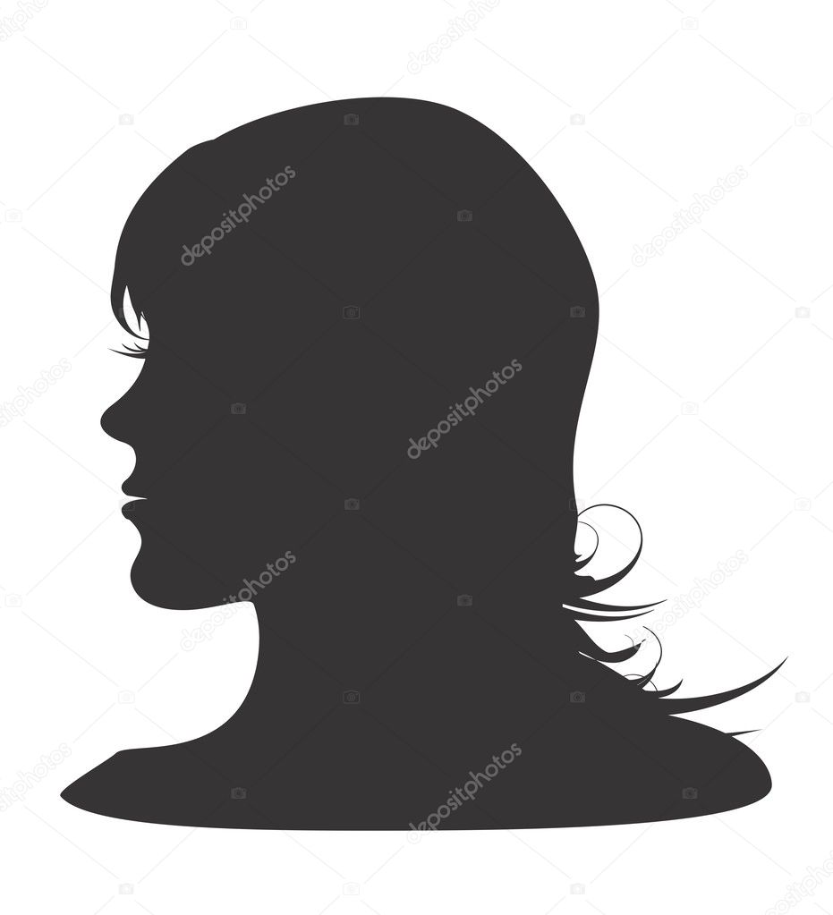 Vector Illustration Of silhouette of womans head  Stock Vector #3705487