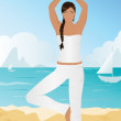 Royalty-Free Stock Imagen vectorial: Yoga On The Beach