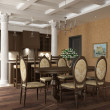 3d rendering. Table room in classical style with columns and with a dining — Stock Photo