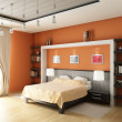 3d rendering. Modern bedroom with the big bed in pastel and orange tones an - Stock Photo