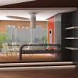 3d rendering. Modern interior of kitchen and table room with a greater pano - Stock Photo