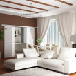 3d rendering. Interior of a modern drawing room of a room with two white so — Stock Photo #3431515