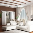 3d rendering. Interior of a modern drawing room of a room with two white so — Stock Photo